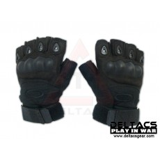 Deltacs Carbon Knuckle Half Finger Combat Gloves - Black(M-XL)